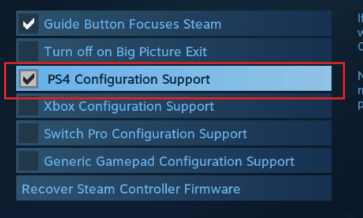 PS4 Configuration Support