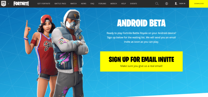 Epic Games Beta Page