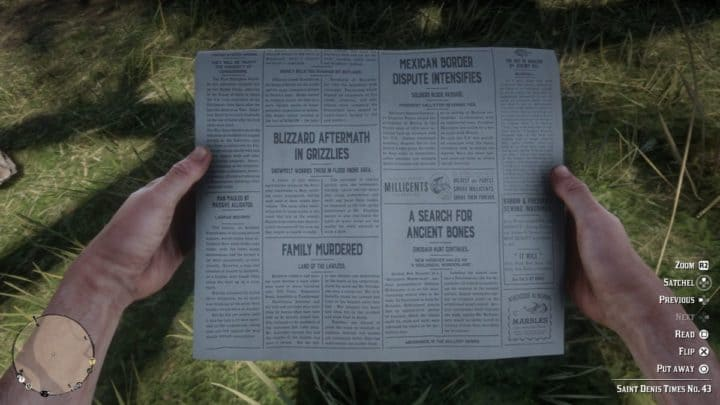 Red Dead Redemption 2 Newspaper