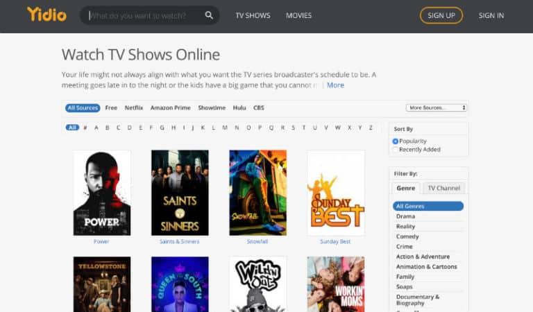 Screenshot of Yidio.com